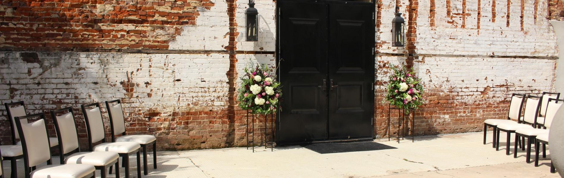 James Allen Plaza set up for a wedding
